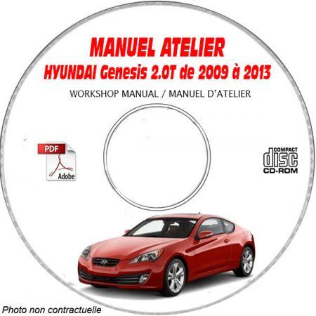 HYUNDAI GENESIS 2.0t de 2009 a 2013 Manuel d'Atelier sur CD-ROM Anglais