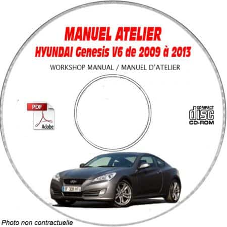 HYUNDAI GENESIS V6 de 2009 a 2013 Manuel d'Atelier sur CD-ROM Anglais
