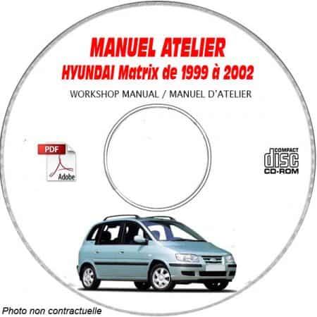 HYUNDAI MATRIX de 1999 a 2002 Manuel d'Atelier sur CD-ROM Anglais