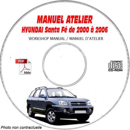 HYUNDAI SANTA-FEde 2000 à 2006 Phase 1 Manuel d'Atelier sur CD-ROM anglais