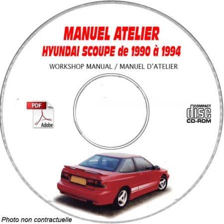 HYUNDAI SCOUPE de 1990 a 1994 Manuel d'Atelier sur CD-ROM Anglais