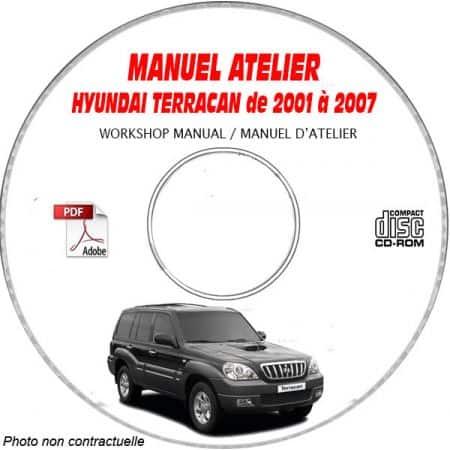 HYUNDAI TERRACAN de 2001 à 2007 Manuel d'Atelier sur CD-ROM Anglais