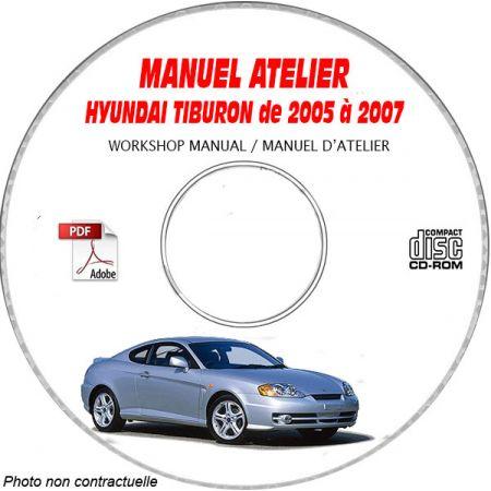 HYUNDAI TIBURON de 2005 a 2007 Phase 3 Manuel d'Atelier sur CD-ROM anglais