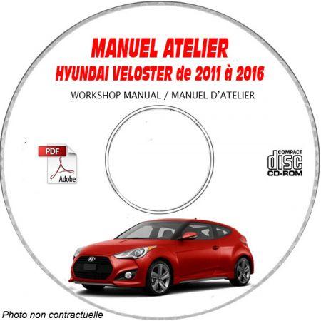HYUNDAI VELOSTER de 2011 à 2016 Manuel d'Atelier sur CD-ROM anglais
