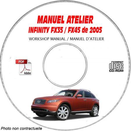 INFINITI FX35 et FX45 de 2005 TYPE  S50   Manuel d'Atelier sur CD-ROM anglais