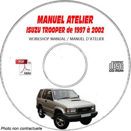 ISUZU TROOPER de 1997 A 2002 Manuel d'Atelier sur CD-ROM Anglais