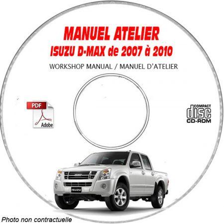 ISUZU D-MAX de 2007 A 2010 Manuel d'Atelier sur CD-ROM Anglais