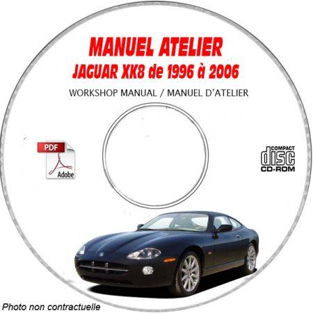 JAGUAR XK8 de 1996 a 2006 TYPE X100  Manuel Atelier  sur CD-ROM Anglais