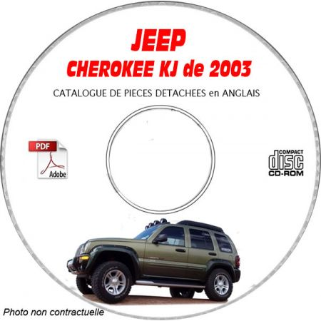 JEEP CHEROKEE - LIBERTY de 2003 TYPE : RENEGADE + SPORT + LIMITED Catalogue des Pièces Détachées sur CD-ROM anglais