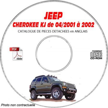 JEEP CHEROKEE - LIBERTY KJ de 2001 à 2002 RENEGADE + SPORT + LIMITED Catalogue des Pièces Détachées sur CD-ROM anglais
