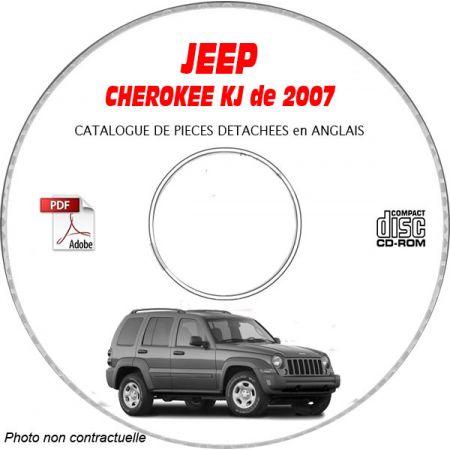 JEEP CHEROKEE - LIBERTY KJ de 2007 Type : RENEGADE + SPORT + LIMITED Catalogue des Pièces Détachées sur CD-ROM Anglais