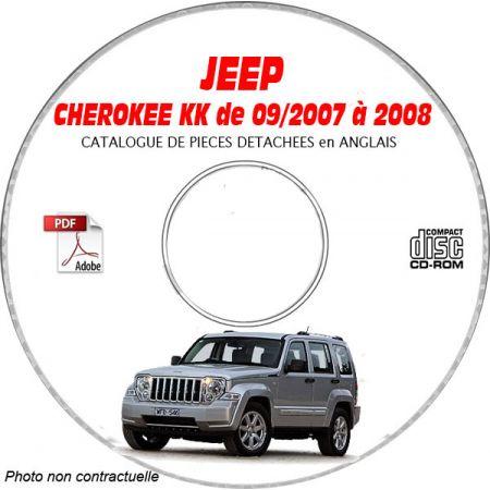 JEEP CHEROKEE - LIBERTY KK de 2007 à 2008 RENEGADE + SPORT + LIMITED Catalogue des Pièces Détachées sur CD-ROM Anglais