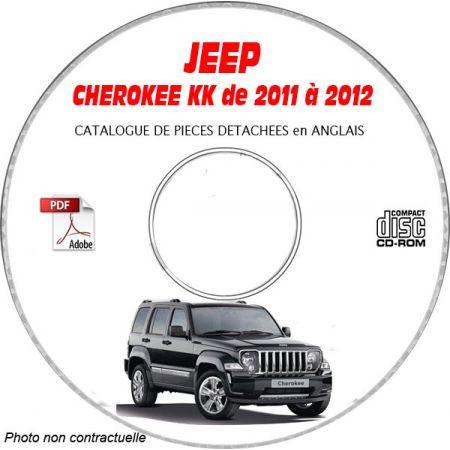 JEEP CHEROKEE KK de 2011 à 2012 RENEGADE + SPORT + LIMITED Catalogue des Pièces Détachées sur CD-ROM Anglais