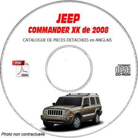 JEEP COMMANDER XK de 2008 Type : OVERLAND + LIMITED Catalogue des Pièces Détachées sur CD-ROM ANGLAIS