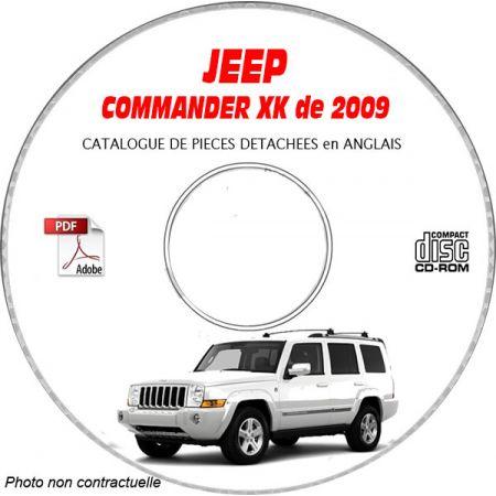 JEEP COMMANDER XK de 2009 Type : OVERLAND + SPORT + LIMITED Catalogue des Pièces Détachées sur CD-ROM Anglais