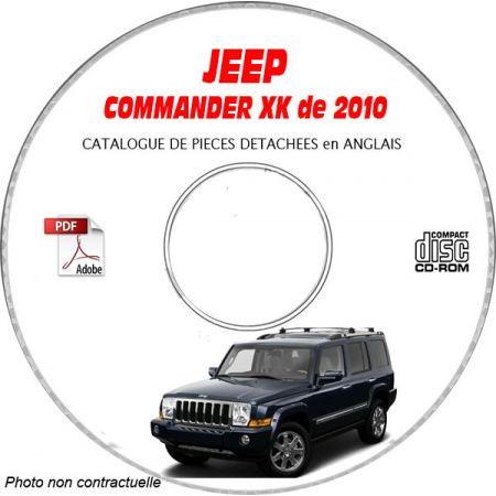 JEEP COMMANDER XK de 2010 Type : OVERLAND + SPORT + LIMITED Catalogue des Pièces Détachées sur CD-ROM ANGLAIS