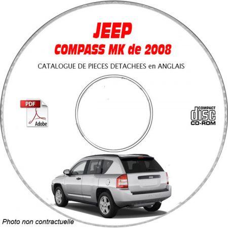 JEEP COMPASS MK de 2008 Type : RALLYE + LIMITED Catalogue des Pièces Détachées sur CD-ROM Anglais