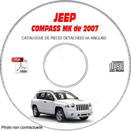 JEEP COMPASS MK de 2007 Type : RALLYE + LIMITED Catalogue des Pièces Détachées sur CD-ROM Anglais