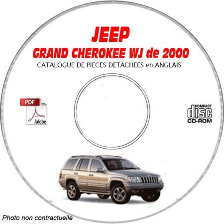 JEEP GRAND CHEROKEE WJ de 2000 TYPE : LAREDO+ OVERLAND + LIMITED Catalogue des Pièces Détachées sur CD-ROM anglais