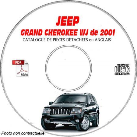 JEEP GRAND CHEROKEE WJ de 2001 TYPE : LAREDO+ OVERLAND + LIMITED Catalogue des Pièces Détachées sur CD-ROM anglais