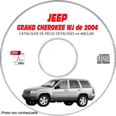 JEEP GRAND CHEROKEE WJ de 2004 TYPE : LAREDO+ OVERLAND + LIMITED Catalogue des Pièces Détachées sur CD-ROM anglais