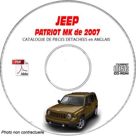 JEEP PATRIOT MK de 2007 Type : MK74 LIMITED Catalogue des Pièces Détachées sur CD-ROM anglais