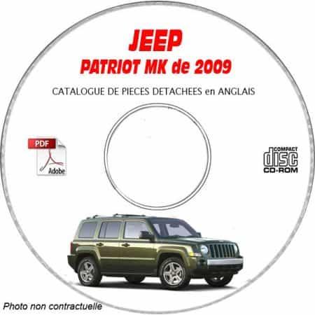 JEEP PATRIOT MK de 2009 Type : MK74 LIMITED Catalogue des Pièces Détachées sur CD-ROM anglais