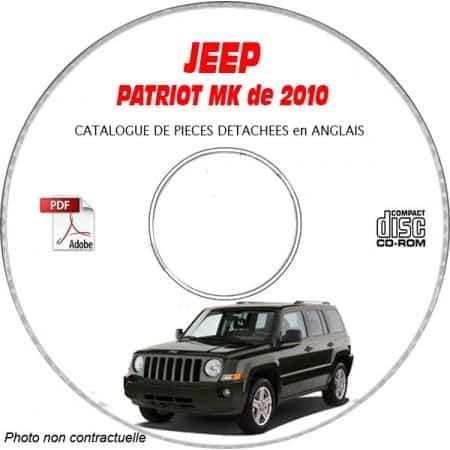 JEEP PATRIOT MK de 2010 Type : MK74 LIMITED Catalogue des Pièces Détachées sur CD-ROM anglais