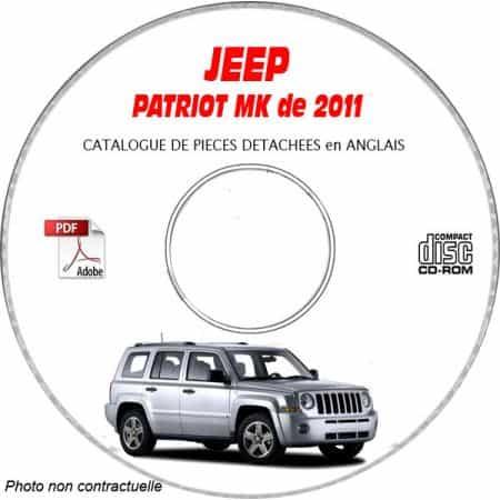 JEEP PATRIOT MK de 2011 Type : MK74 LIMITED Catalogue des Pièces Détachées sur CD-ROM anglais
