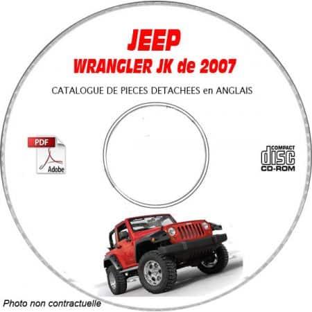 JEEP WRANGLER JK de 2007 Type JK72 JK74 PREMIUM + RUBICON Catalogue des Pièces Détachées sur CD-ROM Anglais