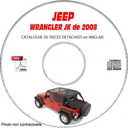 JEEP WRANGLER JK de 2008 Type : JK72 JK74 X + SAHARA + RUBICON Catalogue des Pièces Détachées sur CD-ROM Anglais