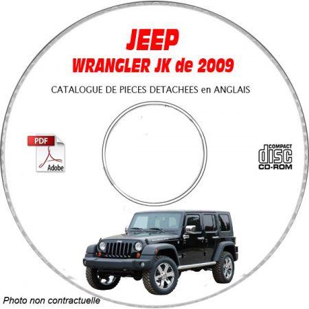 JEEP WRANGLER JK de 2009 Type : JK72 JK74 X + SAHARA + RUBICON Catalogue des Pièces Détachées sur CD-ROM anglais