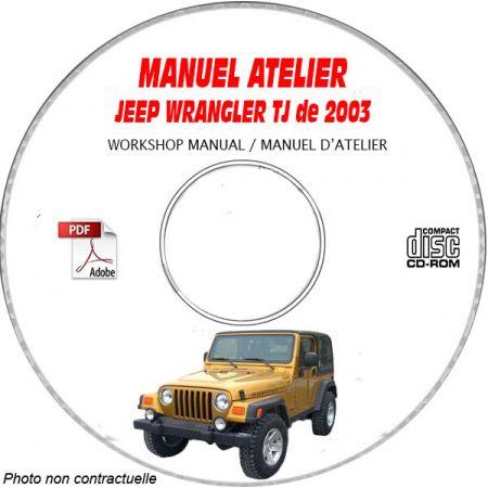 JEEP WRANGLER TJ de 2003 TYPE TJ X + SE + SPORT + SAHARA Manuel d'Atelier sur CD-ROM Anglais