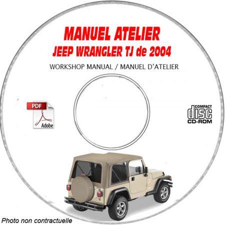 JEEP WRANGLER TJ de 2004 TYPE TJ X + SE + SPORT + SAHARA + RUBICON Manuel d'Atelier sur CD-ROM Anglais