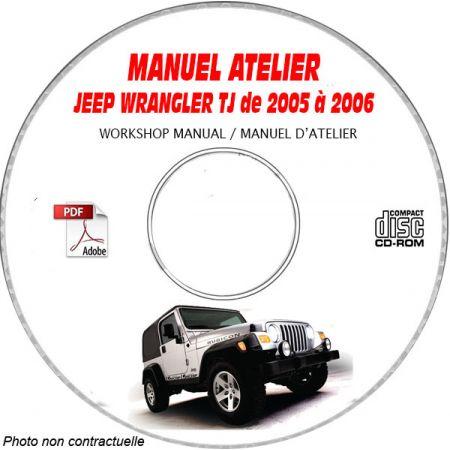 JEEP WRANGLER TJ de 2005 à 2006 TYPE TJ SPORT + SAHARA + RUBICON Manuel d'Atelier sur CD-ROM anglais