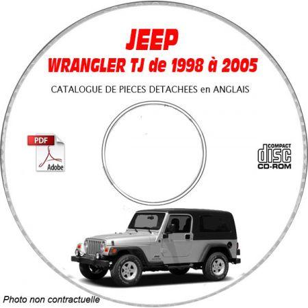 JEEP WRANGLER TJ de 1998 à 2005 Type : TJ SPORT + SE + SAHARA Catalogue des Pièces Détachées sur CD-ROM Anglais