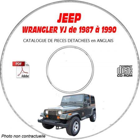 JEEP WRANGLER YJ de 1987 à 1990 Catalogue des Pièces Détachées sur CD-ROM anglais