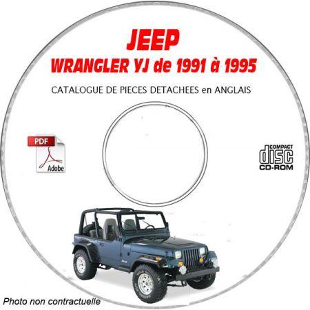 JEEP WRANGLER YJ de 1991 à 1995 Catalogue des Pièces Détachées sur CD-ROM anglais