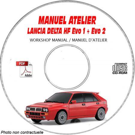 LANCIA DELTA HF Integrale  EVO 1 et EVO 2  Type : ZLA 831 ABO....  Manuel d'Atelier sur CD-ROM anglais