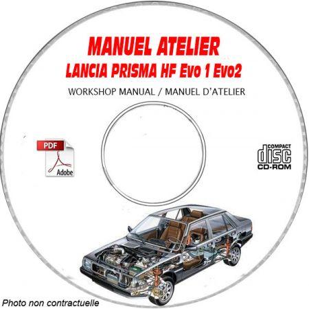 LANCIA PRISMA HF EVO 1 et EVO 2 Type : ZLA 831 ABO.... Manuel d'Atelier sur CD-ROM Anglais