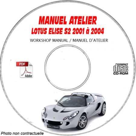 LOTUS ELISE S2 De 2001 a 2004 Type 111 Manuel d'Atelier sur CD-ROM Anglais
