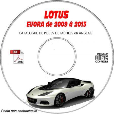 LOTUS EVORA de 2009 à 2013 Type : 132 + 122 Catalogue des Pièces Détachées sur CD-ROM Anglais