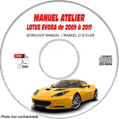 LOTUS EVORA de 2009 à 2011 Type : 122 Manuel d'Atelier sur CD-ROM anglais