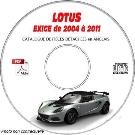 LOTUS EXIGE de 2004 a 2011 Type : SPRINT + S + British GT + Cup 255 Catalogue des Pièces Détachées sur CD-ROM anglais