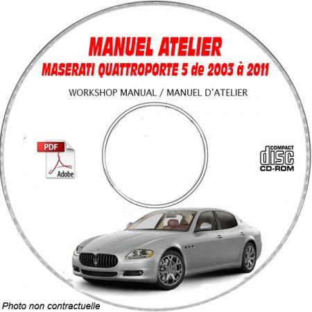 MASERATI QUATTROPORTE 5 de 2003 a 2011 Type : M139 Gen 5 Manuel d'Atelier sur CD-ROM anglais