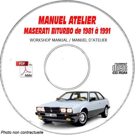 MASERATI BITURBO de 1981 a 1991 Types : 222 + 422 + 228 + 430 + karif + 2.24v + spyder Manuel d'Atelier sur CD-ROM anglais