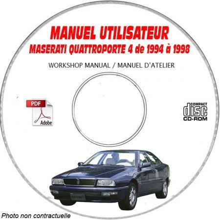 MASERATI QUATTROPORTE 4 de 1994 a 1998 Type : M139 Gen 4 Manuel Utilisateur sur CD-ROM italien
