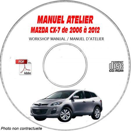 MAZDA CX-7 de 2006 à 2012 Types : ER29L + ER293 Manuel d'Atelier sur CD-ROM Anglais