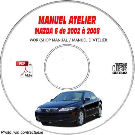 MAZDA 6 de 2002 à 2008 Types : JM2 GG 1232+1282 1432+148212F2+12F5 14F2+14F5 Manuel d'Atelier sur CD-ROM anglais