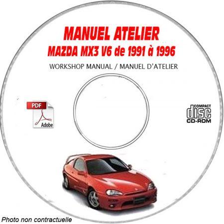 MAZDA MX3 V6 de 1991 à 1996 Type : JM1EC433 + JM1EC434 Manuel d'Atelier sur CD-ROM Anglais